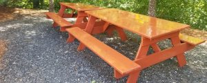 garden benches after pressure washing