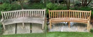 wooden garden benches before and after pressure washing
