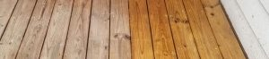 wooden deck before and after pressure washing
