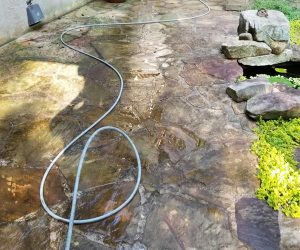 stone path after pressure washing