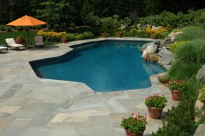 backyard swimming pool area after pressure cleaning